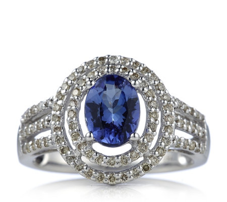 1.25ct AAAA Tanzanite & 0.45ct Diamond Halo Ring 18ct Gold