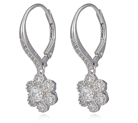 Diamonique 0.8ct tw Flower Leverback Earrings Sterling Silver