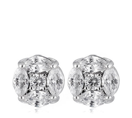 Diamonique 3.7ct tw Marquise Cluster Stud Earrings Sterling Silver