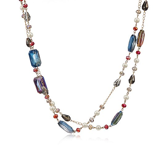 Butler & Wilson Cut Glass and Assorted Beads Double Strand Necklace