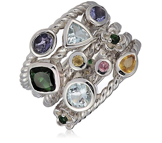 Hilary Joy Couture Multi Gemstone Ring Sterling Silver