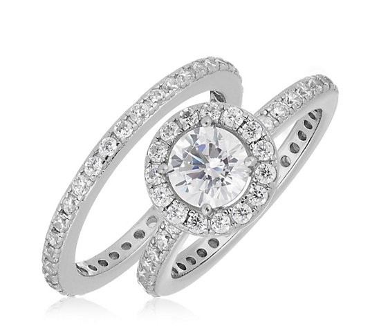 Diamonique 1.7ct tw Halo Ring Set Sterling Silver