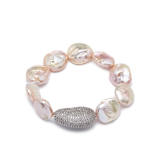 Butler & Wilson Baroque Pearls With Crystal Chunk Stretch Bracelet