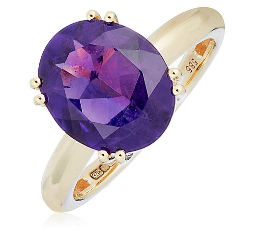 3.25ct Amethyst Oval Solitaire Ring 14ct Gold