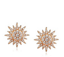 Diamonique 0.7ct tw Star Burst Stud Earrings Sterling Silver - 332638