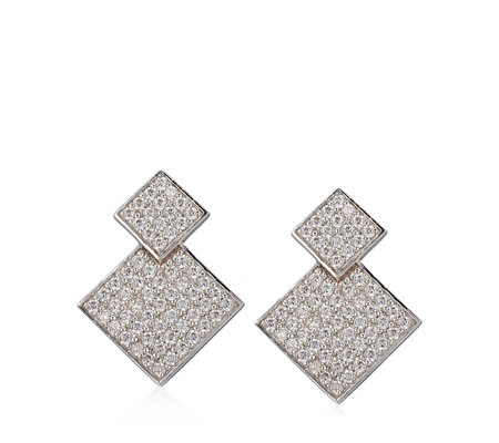 Diamonique 1.2ct tw Pave Double Square Drop Earrings Sterling Silver