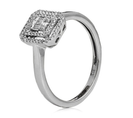 0.15ct Diamond Double Halo Baguette & Round Cut Ring 9ct Gold