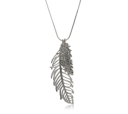 Frank Usher Crystal Multi Feather 80cm Necklace