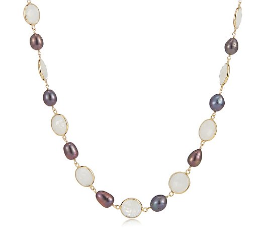 Hilary Joy Couture Gemstone & Fresh Water Pearl Necklace Sterling Silver