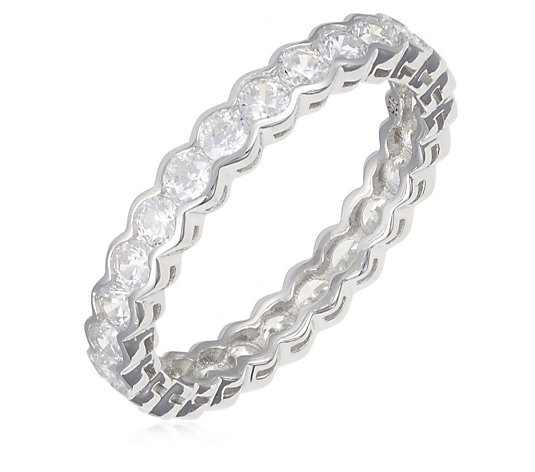Diamonique 1.2ct tw Half Bezel Eternity Ring Sterling Silver