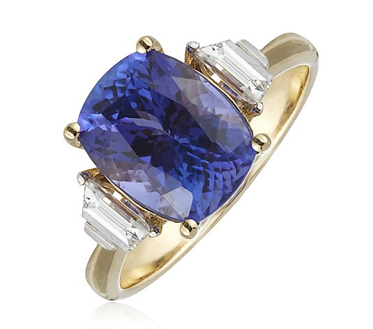 3.00ct AAAA Tanzanite Cushion & 0.30ct SI Taper Diamond Ring 18ct Gold