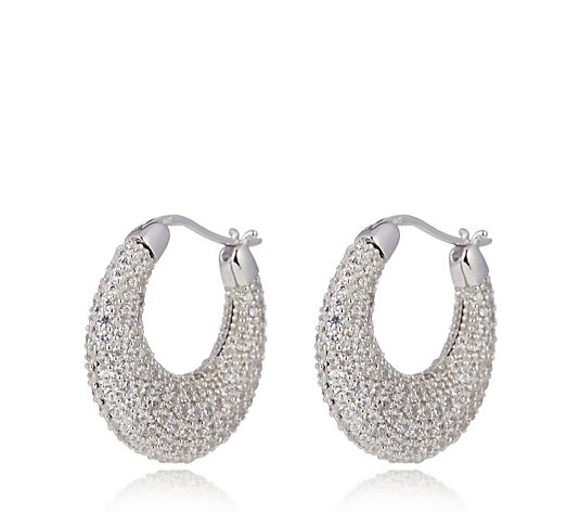 Diamonique 4ct tw Pave Hoop Earrings Sterling Silver