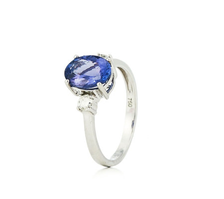 1.70ct AAAA Tanzanite & 0.20ct Diamond 3 Stone Ring 18ct Gold