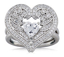 Diamonique 1.4ct tw Angel Wing Heart Cut Ring Set Sterling Silver - 332639