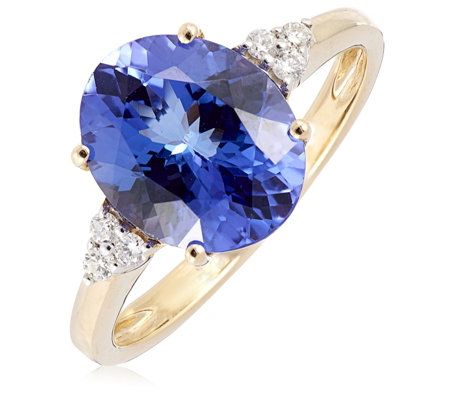 3.25ct AAAA Tanzanite & Diamond Accent Oval Solitaire Ring 18ct Gold