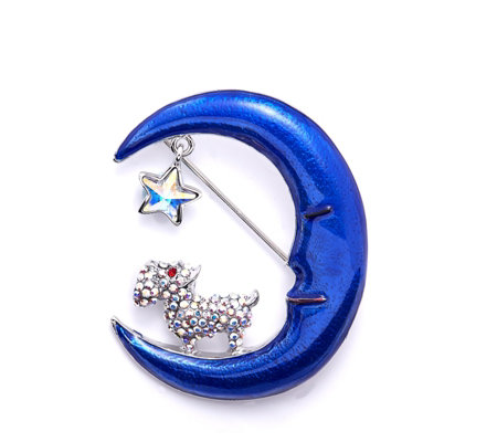 Butler & Wilson Crystal Dog on Half Moon Brooch
