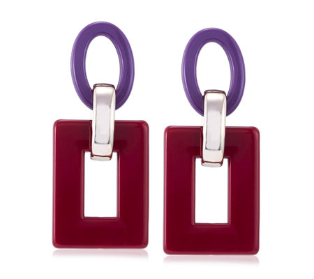 One Button Retro Rectangle Earrings