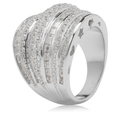Diamonique by Tova 25th Anniversary 3.7ct tw Band Ring Sterling Silver