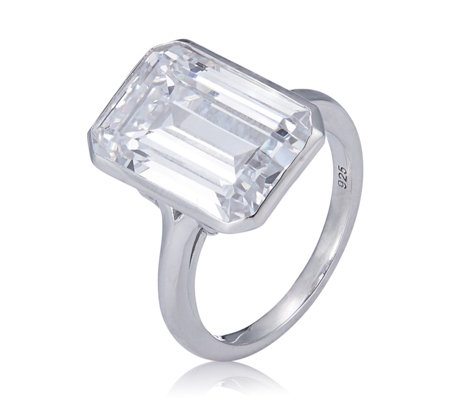 Diamonique 8ct tw Emerald Cut Solitaire Ring Sterling Silver