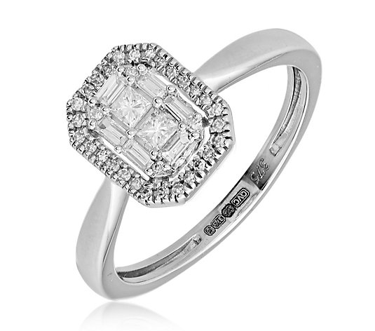 0.25ct Diamond Rectangular Halo Mixed Cut Ring 9ct Gold