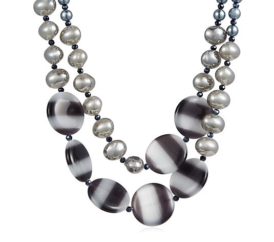 Butler & Wilson Polished Glass Beaded Double Row Necklace