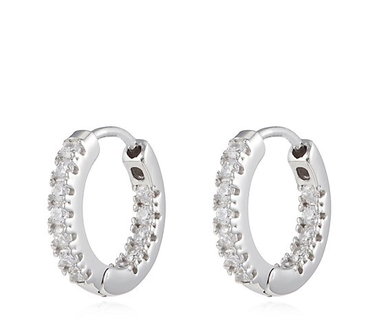 Diamonique 0.4ct tw Platinum Plated Hoop Earrings Sterling Silver