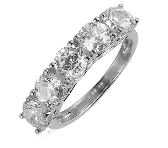 Diamonique 2.5ct tw 100 Facet 5 Stone Ring Sterling Silver