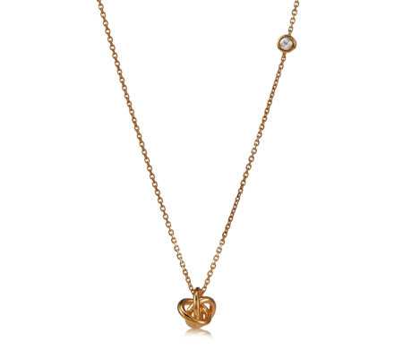 Links of London Love Knot & White Topaz 45cm Necklace Gold Vermeil