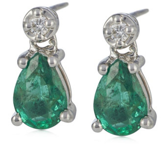1 4ct Zambian Emerald 0 1ct Diamond Drop Earrings 9ct Gold 330540