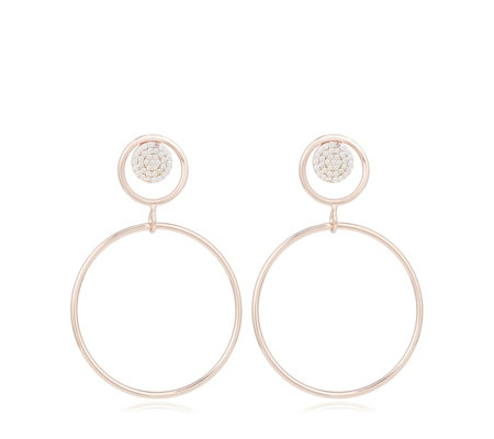 Diamonique 0.66ct tw Pave Circle Hoop Earrings Sterling Silver