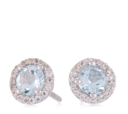 0.72ct Aquamarine Halo Stud Earrings Sterling Silver