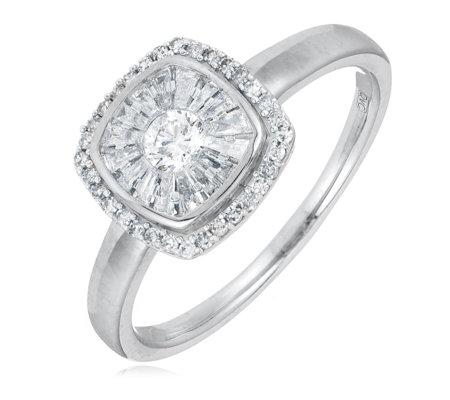 0.50ct SI Diamond Ballerina Set Cushion Ring 9ct Gold