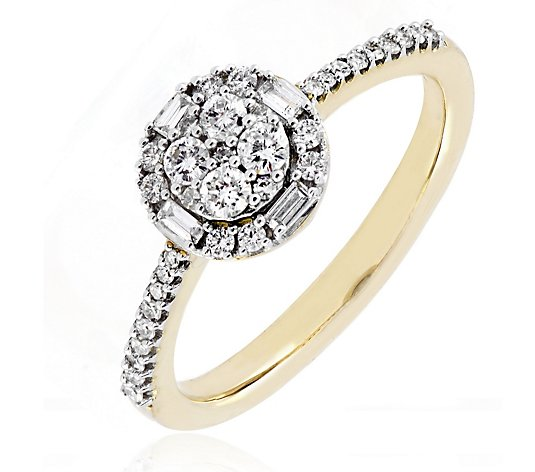 0.33ct Certified Diamond Round Halo Ring 9ct Gold