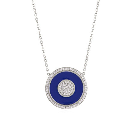 K by Kelly Hoppen Enamel Disc with White Topaz 45cm Necklace Sterling Silver
