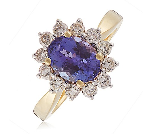 1.50ct AAA Tanzanite Oval & 0.60ct H SI1 Diamond Ring 18ct Gold