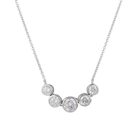 Diamonique 2.8ct tw Platinum Plated Pendant & Chain Sterling Silver