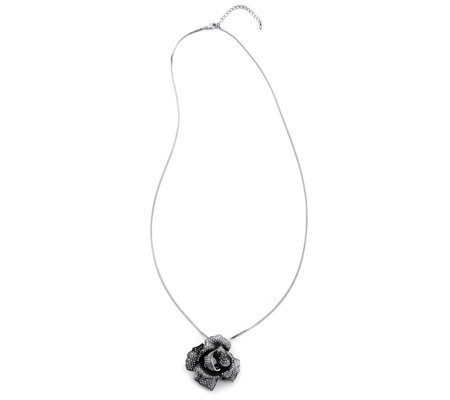 Frank Usher Crystal Rose Brooch with 80cm Necklace
