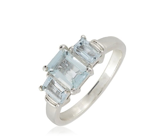 1.24ct Aquamarine 3 Stone Ring Sterling Silver