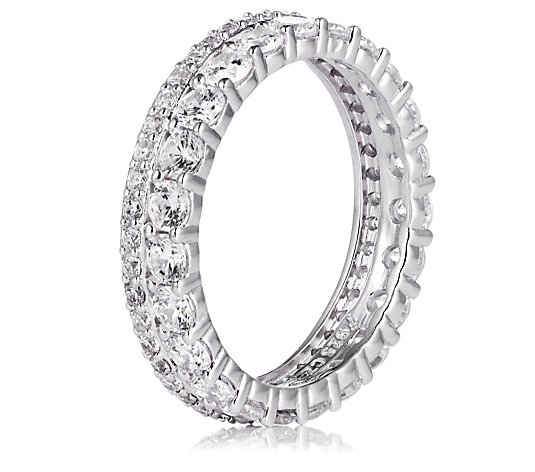 Diamonique 1.6ct tw 2 Row Eternity Ring Sterling Silver