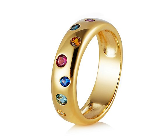 Diamonique 0.2ct tw Rainbow Swiss Set Band Ring Sterling Silver