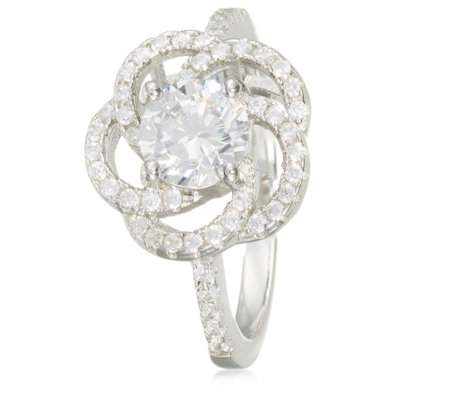 Diamonique 1.4ct tw Open Flower Ring Sterling Silver