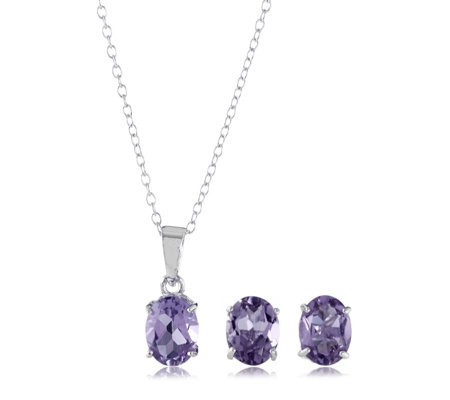 3.15ct Gemstone Stud Earring & Pendant Set Sterling Silver