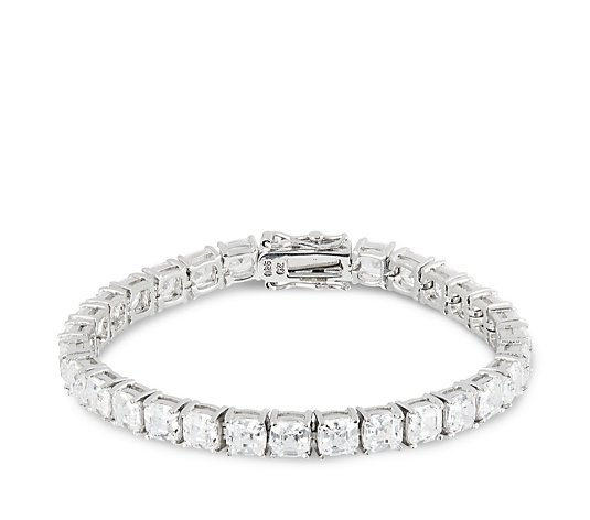 Diamonique by Tova 20ct tw Ascher Cut 17cm Tennis Bracelet Sterling Silver