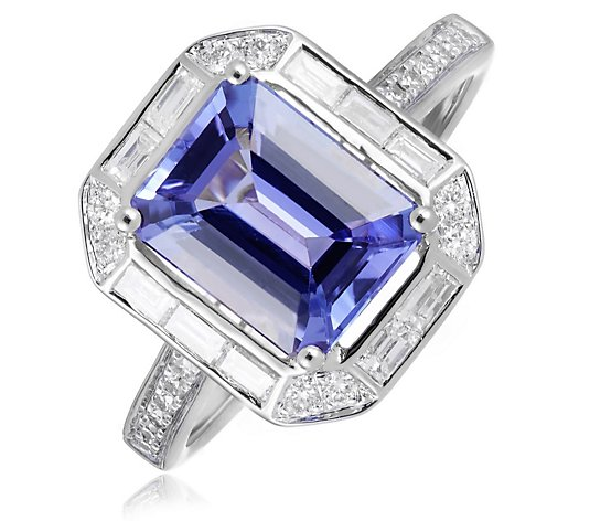 2.25ct AAAA Tanzanite Octagon 0.33ct Diamond Ring 18ct Yellow Gold