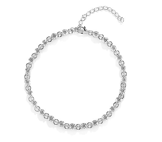 Diamonique 6.2ct tw Link Stone Set Bracelet Sterling Silver
