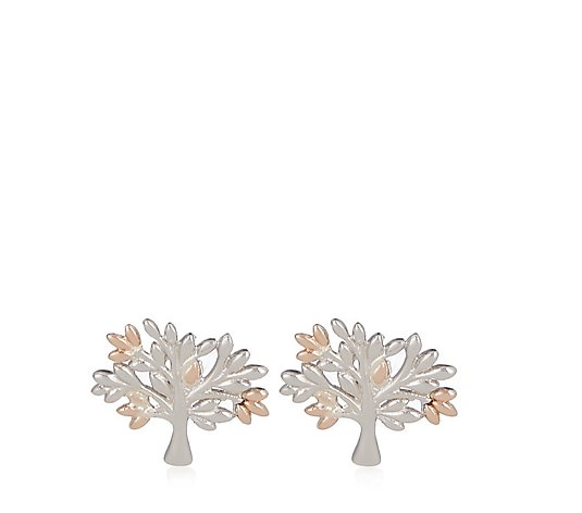 Clogau Tree of Life Stud Earrings 9ct Rose Gold & Sterling Silver