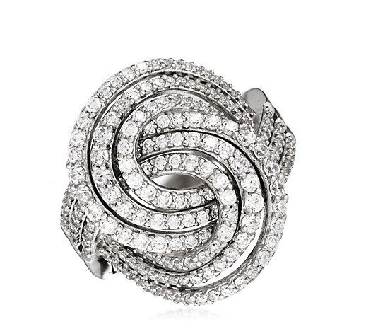 Diamonique 1.5ct tw Pave Swirl Cocktail Ring Sterling Silver