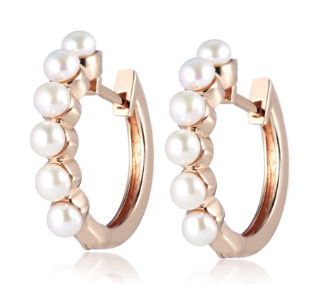 Honora 3 5 4mm On Cultured Fresh Water Pearl Hoop Earrings Bronze