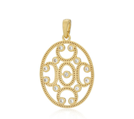 K by Kelly Hoppen Paris Filigree White Topaz Enhancer Pendant Sterling Silver