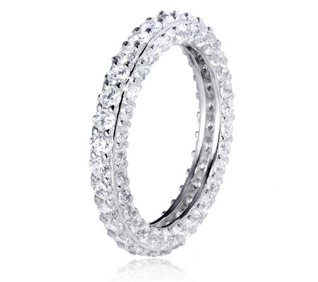 Diamonique 3.3ct tw Pave Eternity Ring Sterling Silver